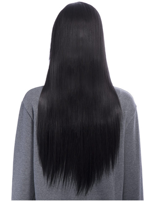 Long straight with side fringe full head synthetic wig