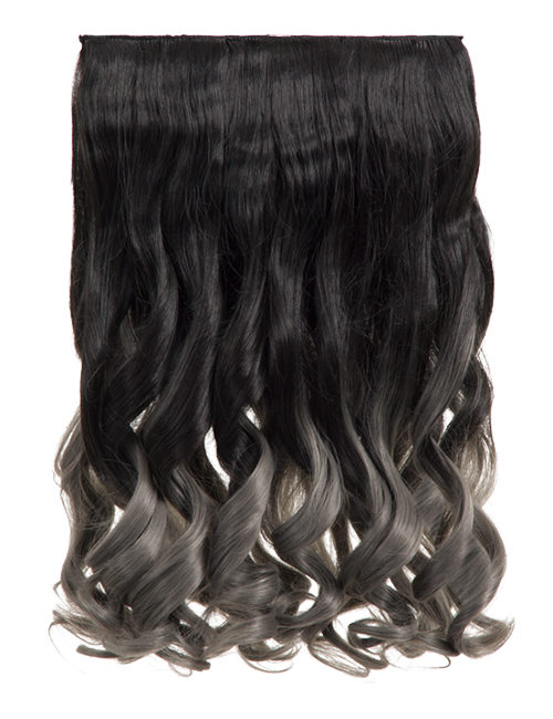 Ombre Curly One Weft Clip In Dip Dye Extension - G1007L - 1BTT Metal Grey