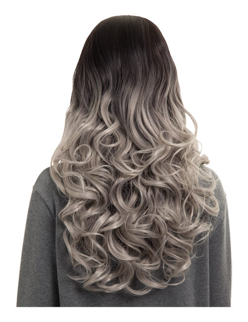 Ombre Long Curly Middle Parting Full Head Wig
