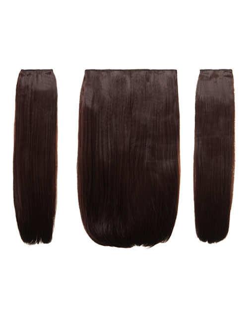"18"" Three Pieces Straight Clip In Extension Heat Resistant Synthetic Hair"