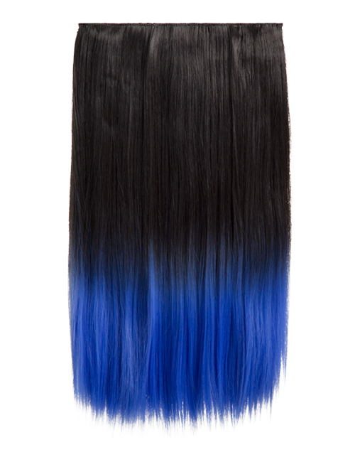 Ombre Straight One Weft Clip In Dip Dye Extension - G1002C - 2TTElectric Blue