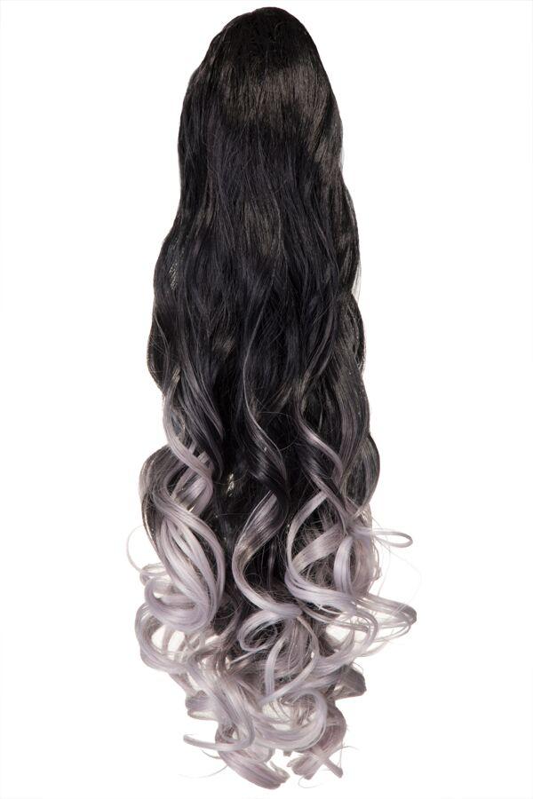Curly Claw Clip Dip Dye Ponytail - LF-39M - 1BTT4110 (Lavender Grey)