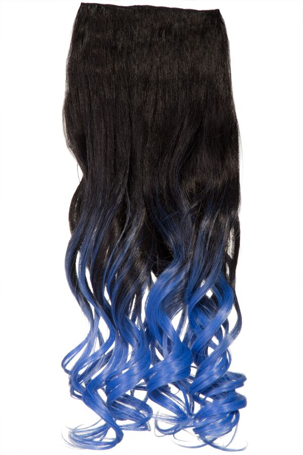 Ombre Curly One Weft Clip In Dip Dye Extension - G1007L - 2TT4735 (Ocean Blue)